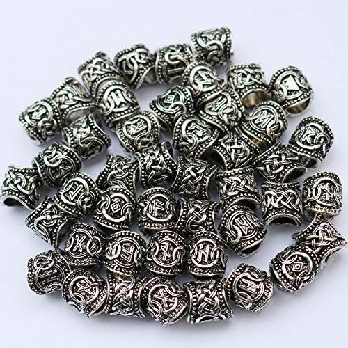 Viking Rune Beards DIY für Perlen Hair Braids Anhänger & Armbänder & Ring Set (24) Gold und Silberfarbe Optional,Silver