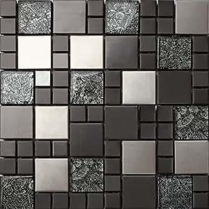 Piastrelle da mosaico in vetro e acciaio inox di colore - Carrelage adhesif mural ...