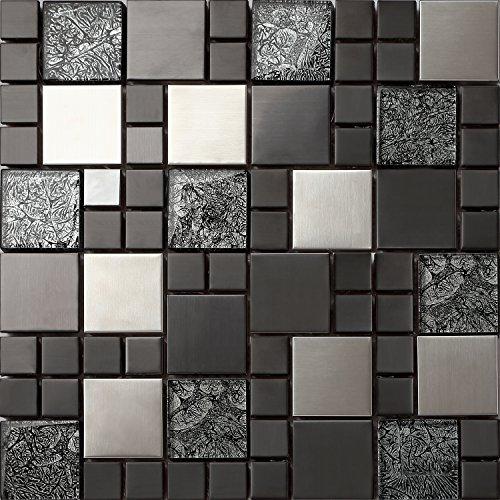 Glas-mosaik-fliese (Glas und Edelstahl Mosaik Fliesen Matte in Schwarz und Silber 30cm x 30cm x 8mm Matten (MT0002))