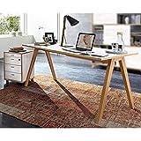 Büromöbel 160cm Schreibtisch & Container Set BILLUND-01 Pinie weiß, Navarra-Eiche, abschließbarer Rollcontainer