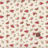 100% Baumwolle Stoff | Rot und Weiß | Kleine Blumen | Stoffbreite: 140cm (0,5 m)