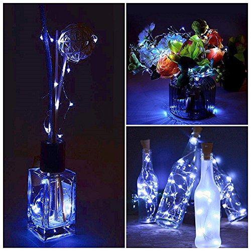 MMLC 10 Stück 2M Weinflaschen String Lichter Fee Dekor Micro Kupferdraht Lichterkette Batterie Beleuchtung Lichter Warm White 20 led Bottle Lights (Warm Weiß) -