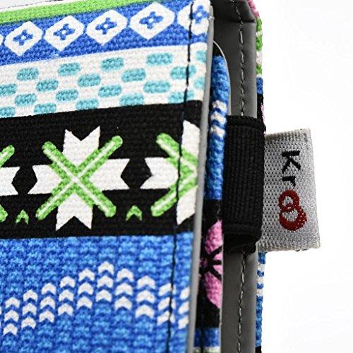 Kroo Téléphone portable Dragonne de transport étui avec porte-cartes pour pour ZTE Nubia Z7 jaune bleu