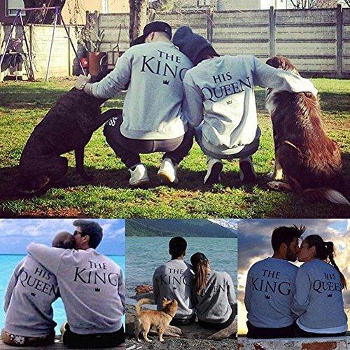 Minetom King Queen Stampa Sweatshirt Pullover Maglietta Tops Manica Lunga Tshirts Prima Edizione Regalo Di San Valentino per Lovers Grigio (Donna)