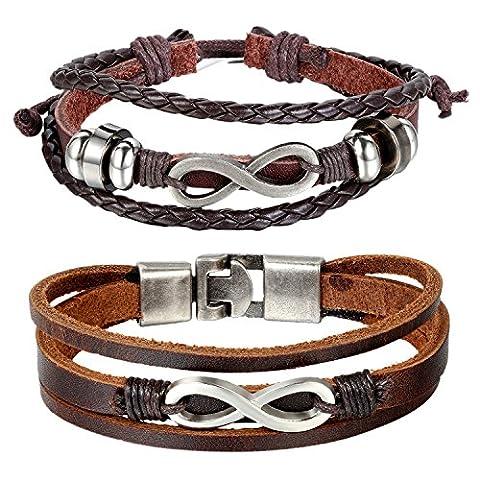 Cupimatch 2 Pieces Leather Couples Bracelet Love Infinity Charm Cuff Bangle for Men Women