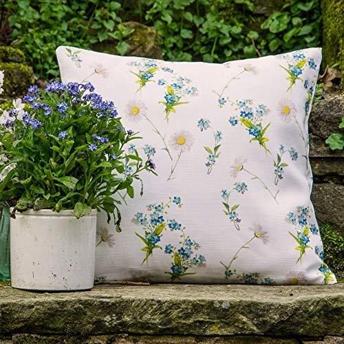 Designer Étanche Jardin Extérieur Coussin 40 X 40 cm - Blanc Cassé (Choix de Couleur) - Wildflowers - \