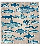 Abakuhaus Fisch Duschvorhang, Vintage Seafood Collection, Bakterie Schimmel Resistent inkl. 12 Haken Waschbar Stielvoller Digitaldruck, 175 x 200 cm, Multicolor