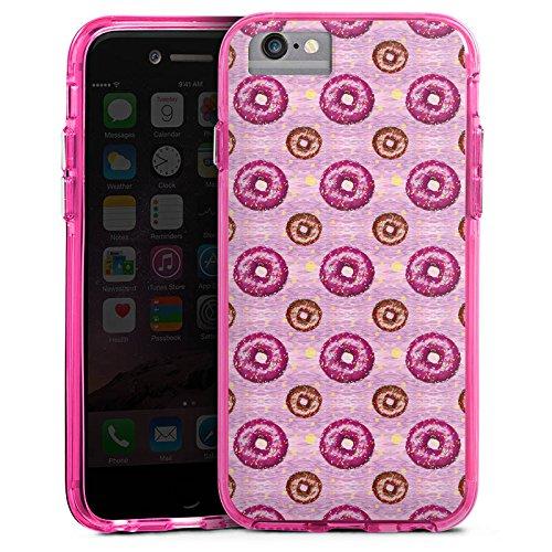 Apple iPhone 6 Plus Bumper Hülle Bumper Case Glitzer Hülle Donut Party Pink Braun Bumper Case transparent pink