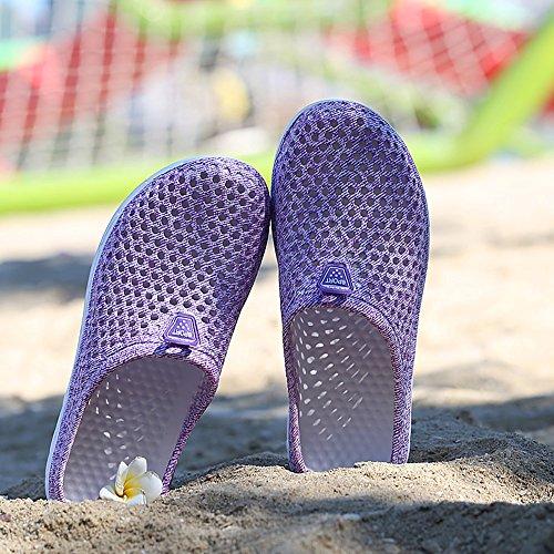 SITAILE Damen Hausschuhe Mesh Leicht Sommer Schuhe Hollow Beach Wasser Schuhe Lila