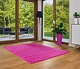 Designer Teppich Friese Einfarbig Modern Verschiedene Größen Pink (200x290)