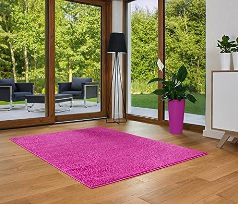 Designer Teppich Friese Einfarbig Modern Verschiedene Größen Pink (120x170)