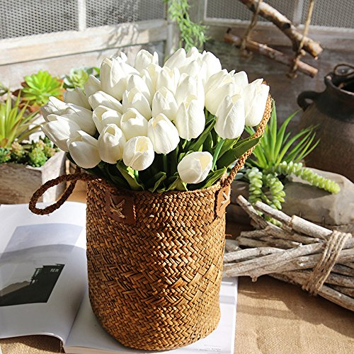 showsing-Valentine's Day Gift mazzi di Fiori Finti-Tulipani Real Touch Wedding Flowers-Fiori Artificiali Home Room Centerpiece Party Wedding Decor, PU, Bianco, 8