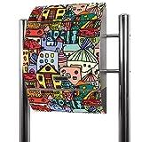 BANJADO Edelstahl Briefkasten groß, Standbriefkasten freistehend 126x53x17cm, Design Briefkasten mit Zeitungsfach Motiv Funky Town