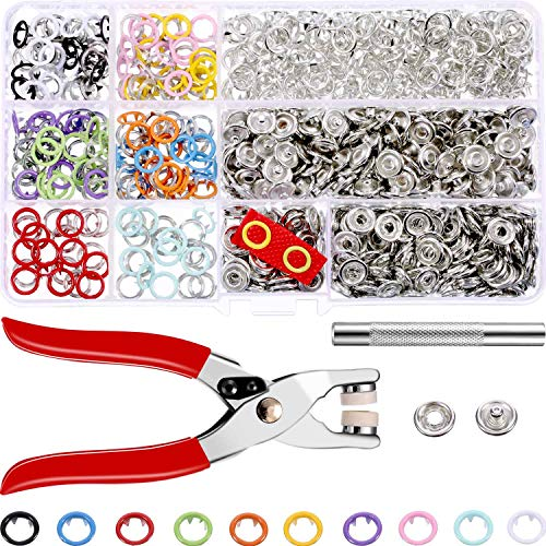 200 Press Bracket Sets Handmade Pliers Tool Buckle Pin Metal Ring Buttons Pressure Buttons Crafts Sewing 9,5 mm, 10 Colors