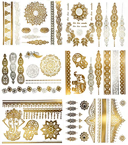 Premium Henna Tattoos mit Metallic-Glanz - 75+ Mandala Klebe-Tattoos in Gold und Silber - Temporäre Tattoos in Schimmeroptik - Blumen, Elefanten, Armbänder & mehr (Jasmine Kollektion)