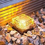 LED Solar Lampen Futurepast Solarleuchten Set Glas Ziegel Eiswürfel Garten Landschaft Beleuchtung Led Solar Leuchte Außen Wegeleuchte (Gelb)1 Stück