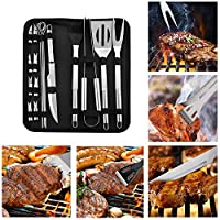 BBQ Tools Set YOMYM- Set of 18 Professional Utensils and Cutlery for Stainless Steel Roast Steak. Spatula, Tongs, Forks, Skewers, Roasting Brush, etc. Outdoor BBQ, Picnic Camping -Gift Kit