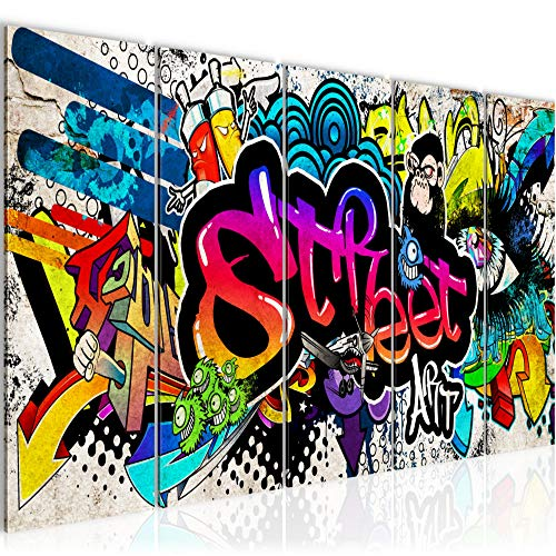 Photo Graffiti street art Décoration Murale 150 x 60 cm Toison - Taille XXL Salon Appartement Décoration Photos d'art Multicolore 5 Parties - 100% MADE IN GERMANY - prêt à accrocher 004556b