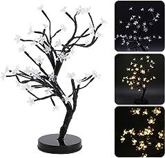 Tomtopp LED Cherry Blossom Bonsai Tree Fairy Twig Lights Table Floor Lamps