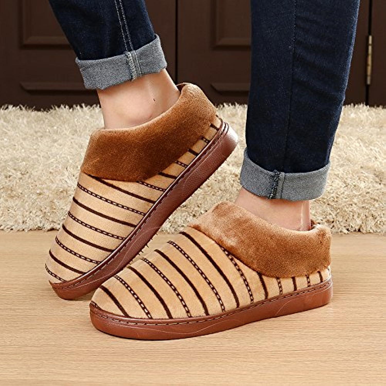 YMFIE Hombre de otoño e invierno zapatos zapatillas de algodón interior cálida casa zapatillas de felpa antideslizante...