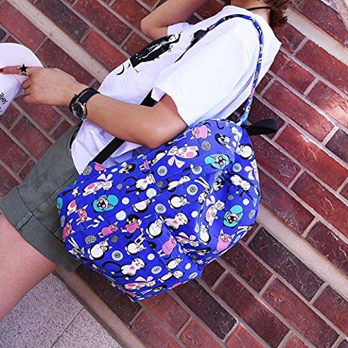 Longra Nylon superiore materiale donna chiusura lampo carino cat pattern doppio cinghie zaino borsa da viaggio Bag Blu scuro Venta Barata Muy Barato Grandes Ofertas Precio Barato De Baja ZQsk111