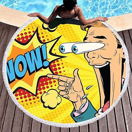 SUYUN Retro rundes gedrucktes Strandtuch-Poolkissen schnell trocknend -3 150 * 150cm