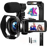 Camescope Caméra Vidéo 4K Ultra HD 48MP Caméra de IR Vision Nocturne 18X Zoom Numérique Caméscope avec Microphone, WiFi, Stab