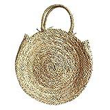 Colinsa Strohtasche Damen Handgemacht Rattan Sommertasche Geflochten Strandtasche Stroh geflochten kreisförmige Urlaub Tasche handgemachte Stroh geflochtene Strandtasche