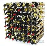 Double Depth 144 Bottle Dark Oak Stained Wood and Galvanised Metal Wine Rack