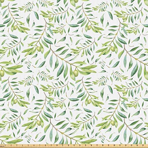 ABAKUHAUS Grünes Blatt Stoff als Meterware, Künstlerischer Olivenbaum, Microfaser Stoff für Dekoratives Basteln, 1M (160x100cm), Avocadogrün Olivengrün Weiß