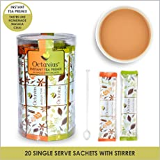 Octavius Rich Indian Masala & Cardamom Chai Instant Tea Premix- 20 Single Serve Sachet (2 in 1)   Combo pack   Sweetened   Masala & Elaichi Chai   On-the-Go Instant Hot Chai Mix  Just Add Hot Water and Stir   With Exotic Flavors of Cardamom, Ginger, Clove, Black pepper & Cinnamon