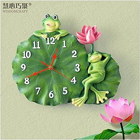 Chambre Salon Chambre Enfant Horloge murale Montre Art Deco Jardin mute Lotus Leaf grenouille horloge murale en