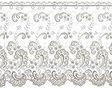 Plauener Spitze by Modespitze, Store Bistro Gardine Tüllgardine Florentiner mit Stangendurchzug, hochwertige Stickerei, Höhe 65 cm, Breite 178 cm, Creme