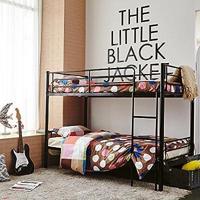 3ft Single Black Metal Frame Children Bunk Bed - Twin Sleeper For Kids(bed frame only)