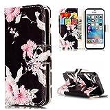 Nancen Apple iPhone 5 / 5S / SE (4 Zoll) Hülle, Flip-Case PU Leder Handytasche - Praktisches Design mit Magnetverschluss Standfunktion Brieftasche und Karten Slot Hochwertige Wallet Etui/Lederhülle