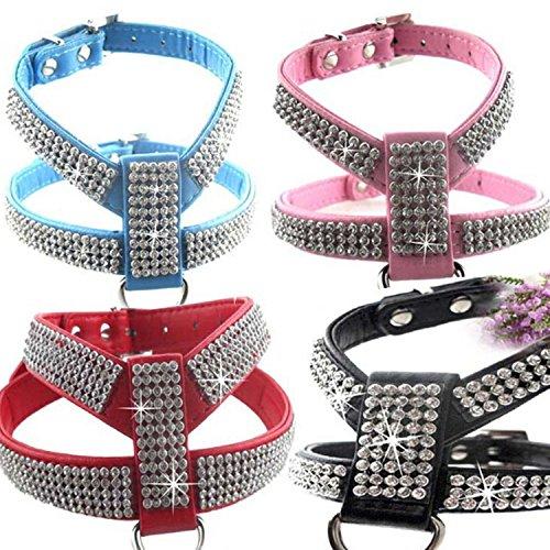 Creatwls Fashion Bling Diamant Glitzer PU Leder Kristall Halsband für Katze Hund verstellbares Hundegeschirr Brustgurt führen Pet -
