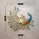 Aemember Peacock Wanduhr Wohnzimmer Uhren Art Deco Wecker stumm Wandtisch Quarzuhr, 20 Zoll oder mehr, Querschnitt [Aspekt 70cm * 65cm -