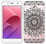 Sunrive Coque pour ASUS Zenfone Live Plus ZB553KL 5,5 Pouces/Zenfone 4 Selfie ZD553KL Silicone Étui Housse Protecteur Souple TPU Gel Transparent Back Case(TPU Fleur Noire)+ Stylet OFFERTS