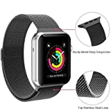 iBander Milanaise-Ersatz-Armband für Apple Watch / iWatch Serie 3/2/1,Edelstahl, mit einzigartigem Magnet-Verschluss, in verschiedenen Größen und Farben, für Männer und Frauen, Schwarz , 42mm