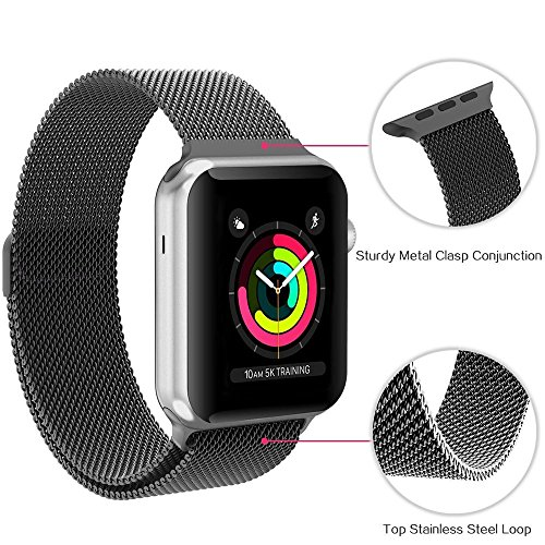 iBander Bracelet pour iWatch Apple Montre Watch 42mm Série 3/2/1 Noir