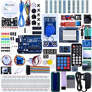 Elegoo UNO R3 Project The Most Complete Ultimate Starter Kit w/TUTORIAL, UNO R3 controller board, LCD1602, Servo, Stepper Motor for Arduino UNO Project