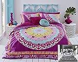 Set di biancheria da letto composto da copripiumino e federa, con motivo mandala in cachemire, realizzato a stampa digitale di elevata qualità, Policotone, Pink (Multi), Singolo