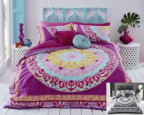 Bettwäsche-Set aus Bettbezug und Kissenbezug, Paisleymuster, Digitaldruck, für Schlafzimmer, Schlafcouch, Polycotton, Pink (Multi), Doppelbett