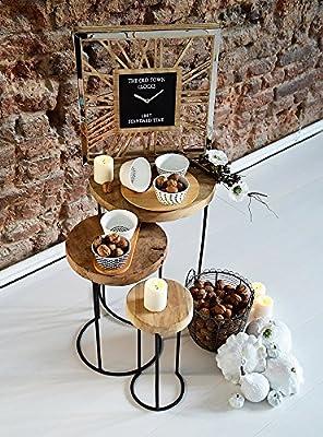 EMAKO Beistelltisch 3er Set klein deko rund holz Holztisch Balkontisch stapelbar Tisch Gartentisch Kaffeetisch Esstisch aus natürlichem Teakholz von Emako bei Gartenmöbel von Du und Dein Garten