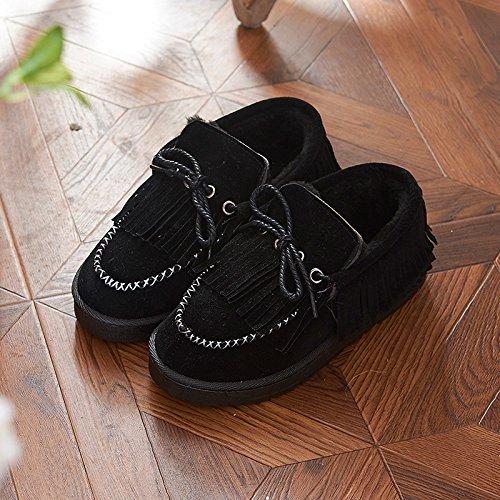 Aemember Autunno e Inverno Indoor e Outdoor, All Inclusive e cotone pantofole per Donna Home caldo, antiscivolo, fondo spesso Home Snow Boots black