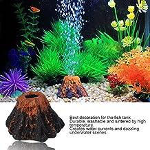 Hemore - Figura Decorativa para Acuario con Forma de volcán y Piedras de Burbujas