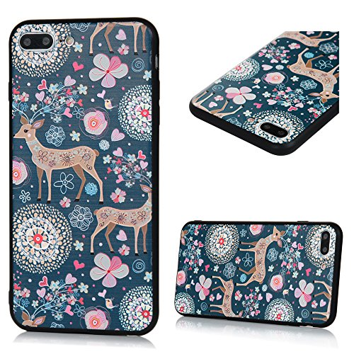 MAXFE.CO TPU Silikon Hülle für iPhone 7 plus Handyhülle Schale Etui Protective Case Cover Rück mit Rosen Skin Silikon Stereo Lithographie Design Sika-Hirsch