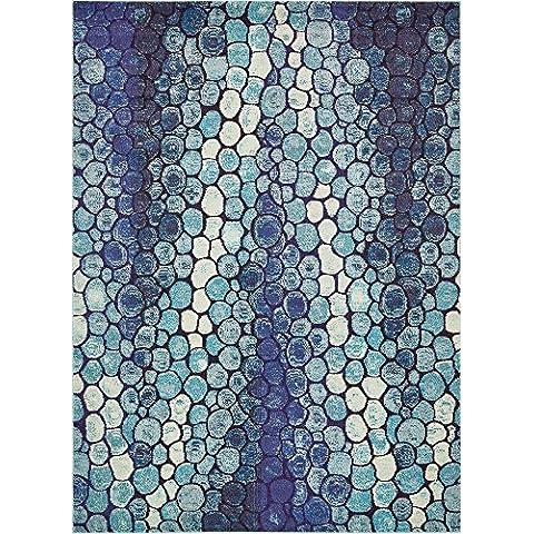 Moderna astratta geometrica Barcellona Tappeto Moderno, Polipropilene, Blue, 8 x 11