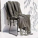 zlloo Decke Office Leisure Blanket_Nordic Sofa Blanket Office Casual Blanket Single Knitted Tassel, 130x170cm, Grey