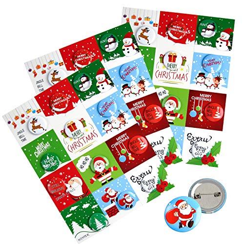 FEPITO 36 Stk Frohe Weihnachten Button Pins Mini Pinback Buttons mit Weihnachtskarten für Kinder Christmas Party Supplies
